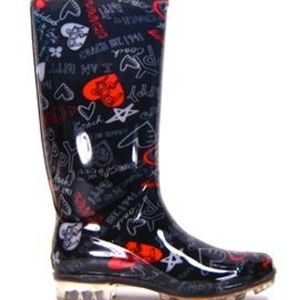 COACH Pixy Graffiti Black Multi Rubber  Rain Boots